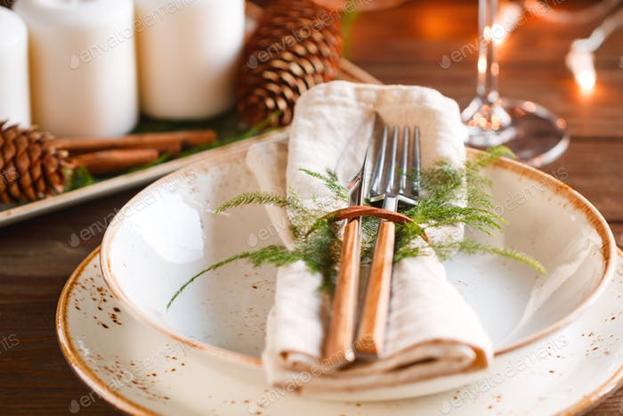 Decorated Thanksgiving or New Year table setting