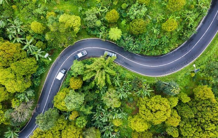 Luftlandschaft mit Wald und Straße, Indonesien