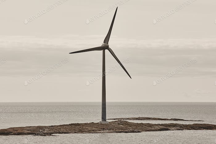 Wind turbines in the baltic sea. Renewable energy. Finland seascape