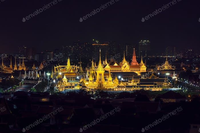 Top view Scene of Construction site of the Royal funeral pyre for King Bhumibol Adulyadejaadej