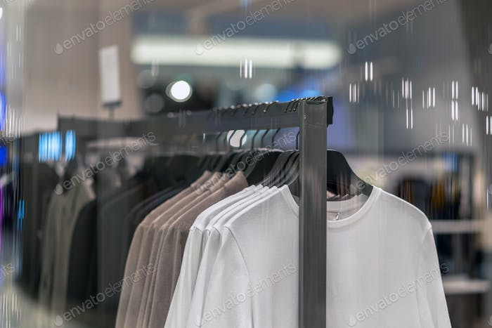 clothes line in glasses shop at shopping department store for shopping
