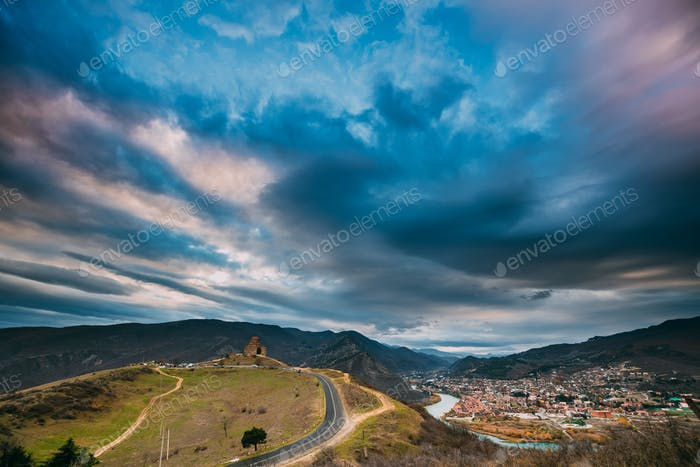 Mtskheta, Georgia. Sunset Sky Above Jvari, Georgian Orthodox Mon
