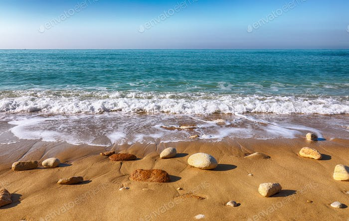 Fantastic view azure sea glowing by sunlight