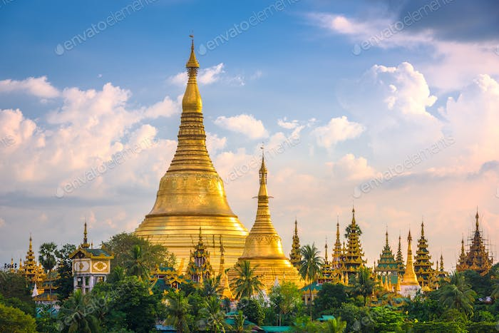 Yangon, Myanmar view of Shwedagon Pagoda