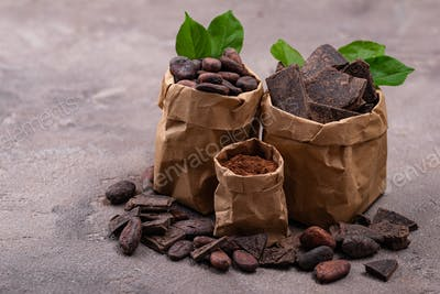 Natural cocoa powder, cocoa beans and chocolate