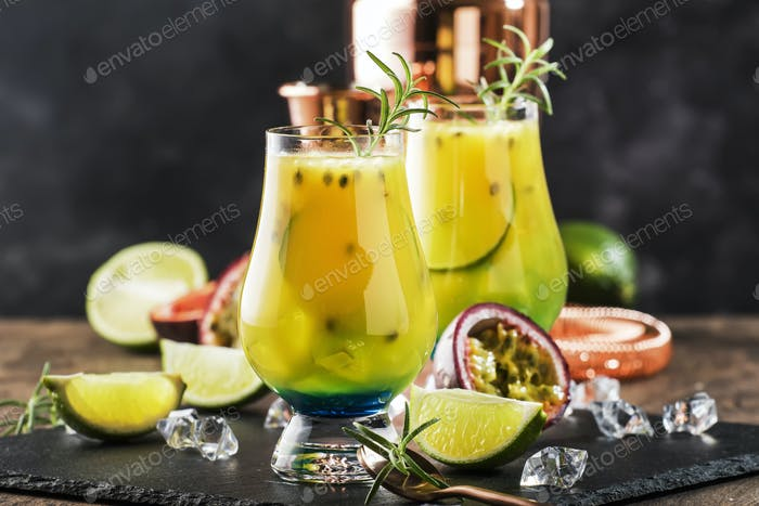 Summer passion fruit, lime and rosemary cocktail or lemonade