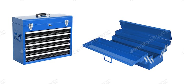 blue toolboxes isolated on white