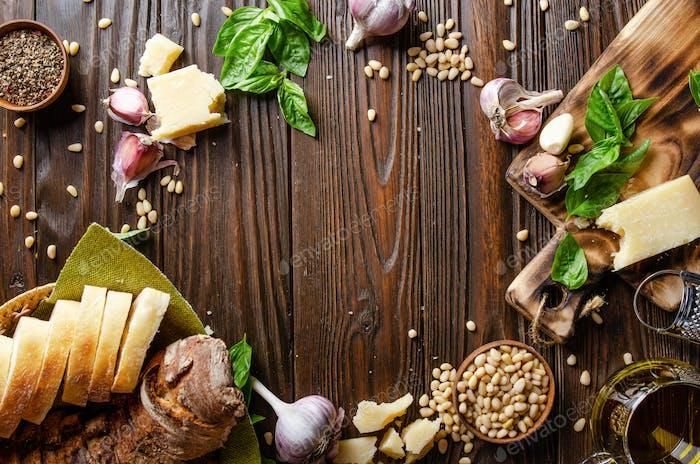 food background of genovese pesto sauce ingredients
