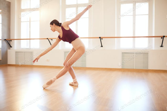 Flexible girl in pointe shoes dancing in studio