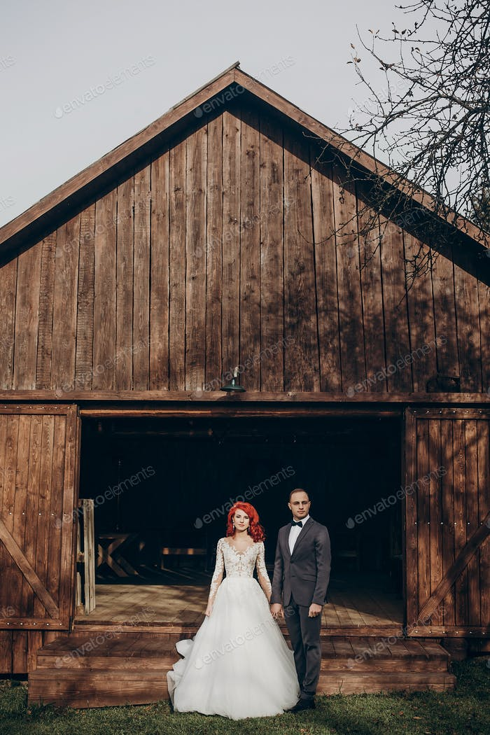 Rustic wedding concept in barn