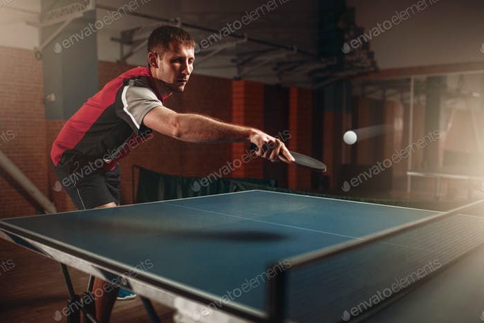 Table tennis, man playing game, ball with trace