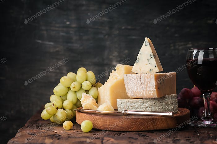 various types of cheese still life
