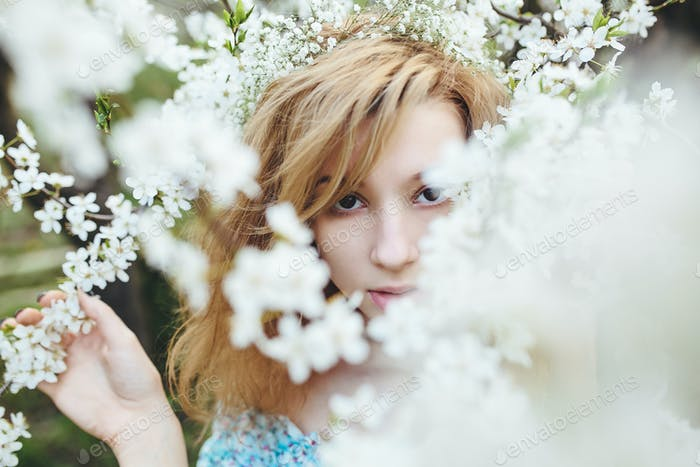 Thumbnail for Portrait of a beautiful girl flowering trees