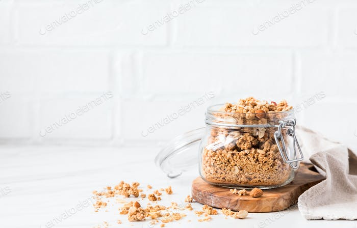 Granola, muesli . Breakfast, snack.Concept of healthy