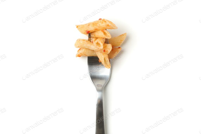 Fork with tasty pasta isolated on white background