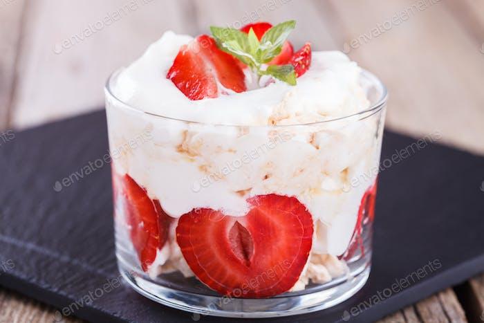 Eton Mess .Classic British summer dessert.