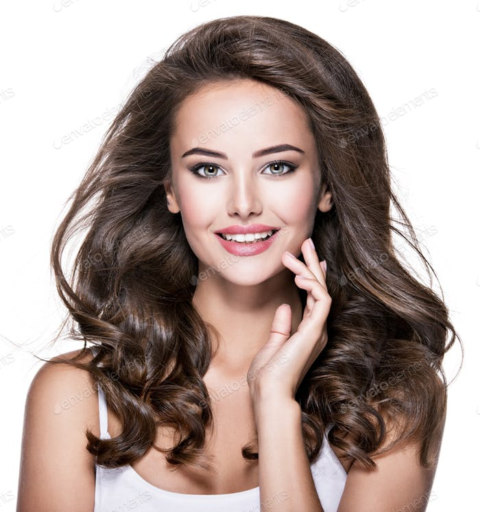 Portrait of beautiful happy  woman with long brown hair