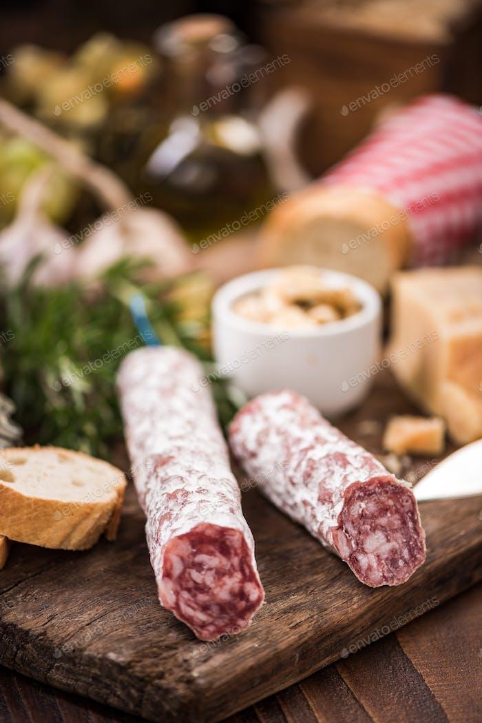 Regional salami sausage, tapa bar food