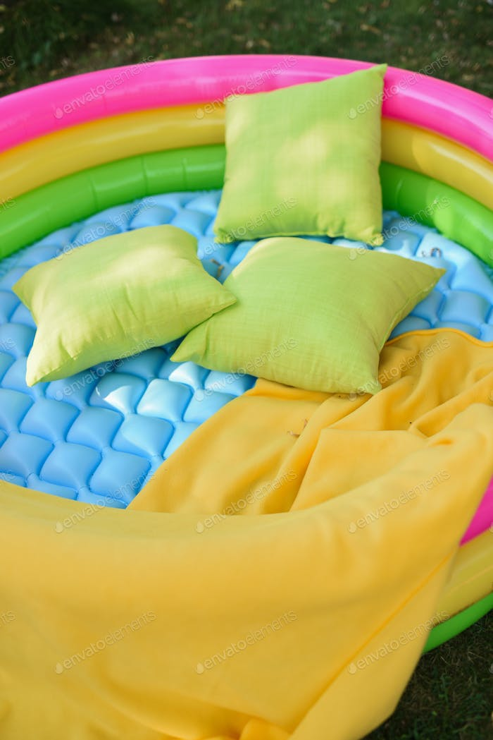 colorful, inflatable, soft seating areas