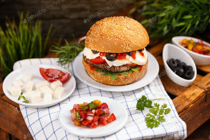 Delicious homemade hamburger