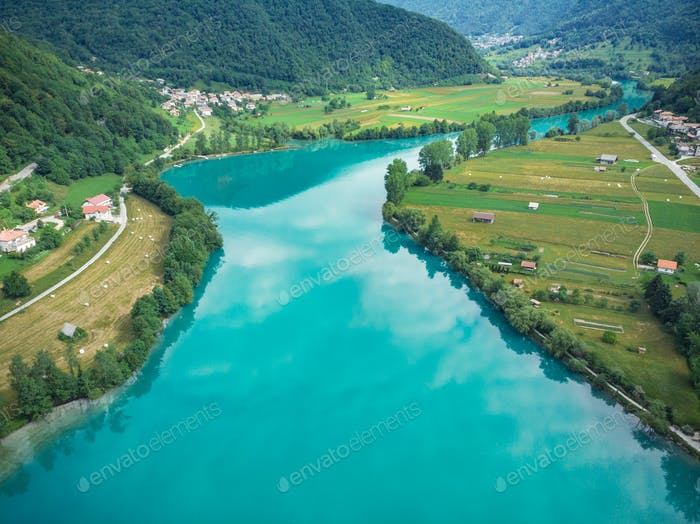 Beautiful unreal emerald green water in Most na Soci, Slovenia