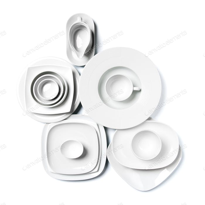 White porcelain dishes on a clean white background.