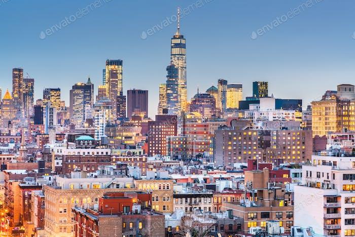 New York, New York Stadtbild in der Abenddämmerung