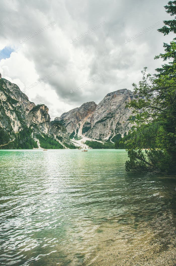 Mountain Lake in Valle di Braies in Italy