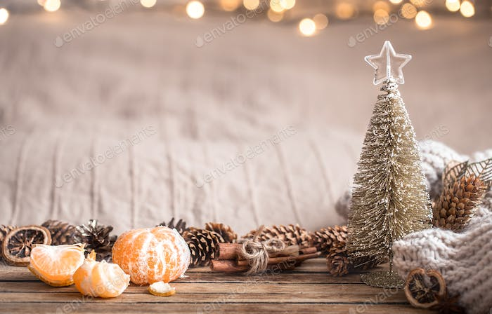 Festive Christmas cozy atmosphere with home decor