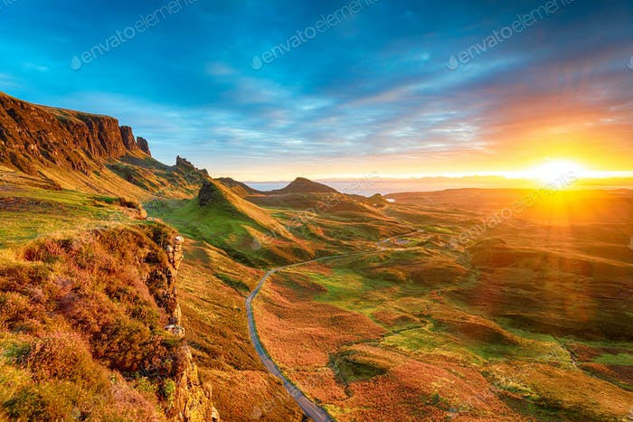 Magical sunrise over the Quiraing on the Isle of Skye