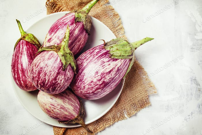 Fresh lilac striped eggplants