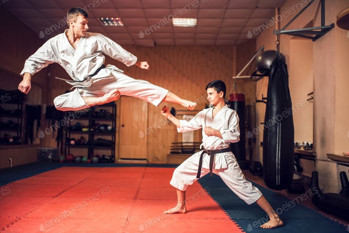 Martial arts masters practice kick in jump