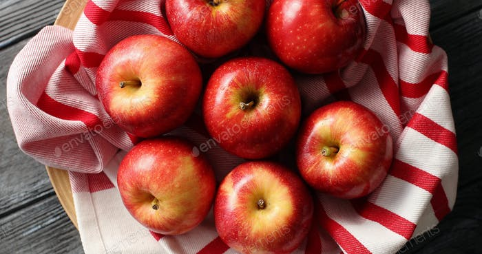 Bright shiny red apples from above