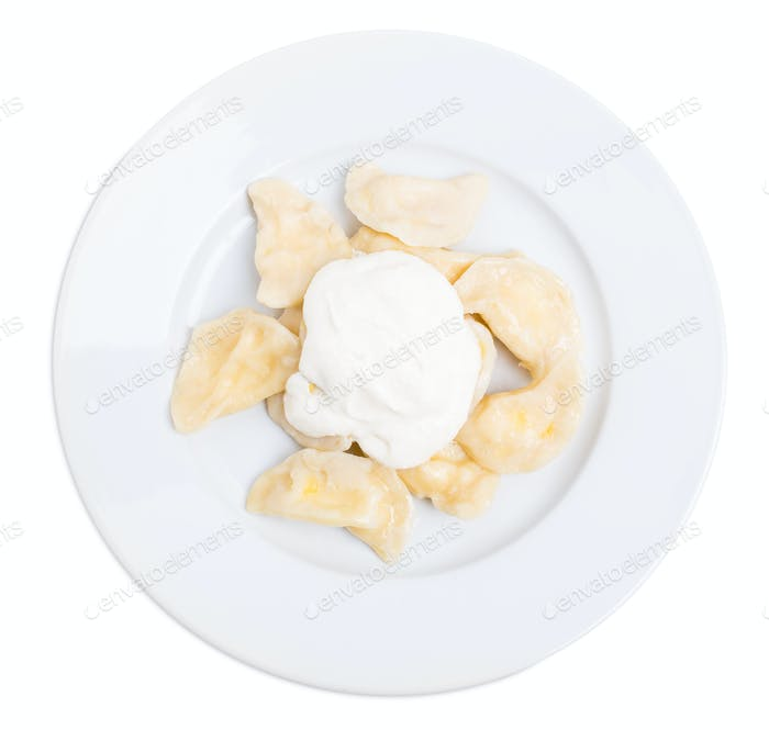 Russian cottage cheese dumplings vareniki.