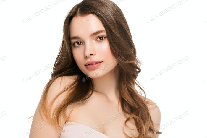 Young woman clean healthy beauty skin natural make up