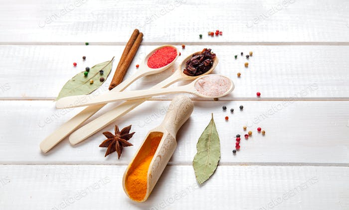Spices on a white background. Nicely laid out