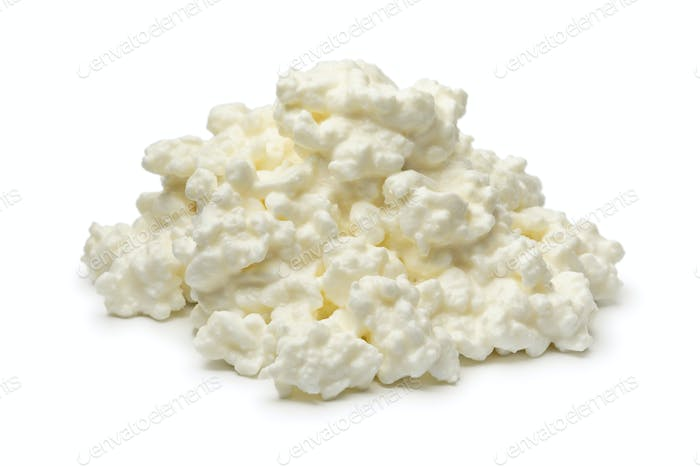 Heap of cottage cheese close up