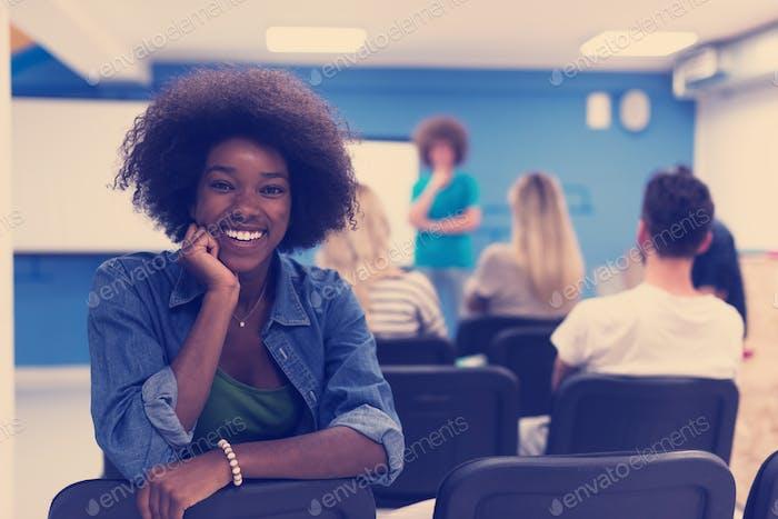 Portrait informal African American business woman