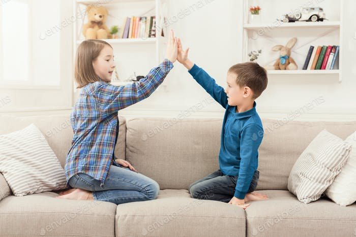 Play clapping hands together, children game