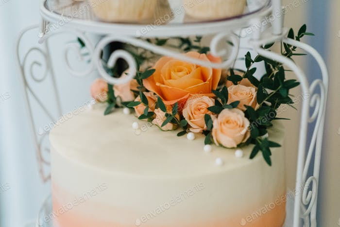 festive wedding sponge cake with white icing cream
