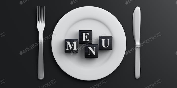 Place Setting and word MENU on black background. 3d illustration