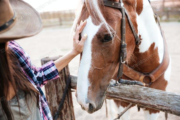 glücklich schön junge Frau Cowgirl nehmen Pflege von Ihr Pferd