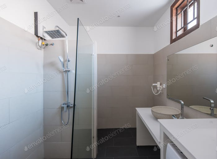 Modern bathroom interior at hotel or home