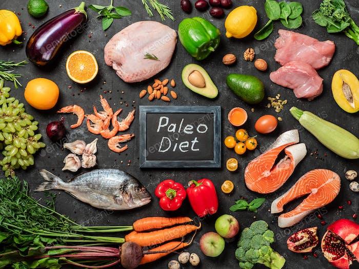 Paleo Diät-Konzept, Draufsicht oder Flachlage