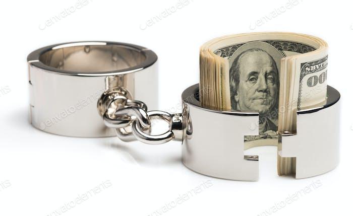 Silber-Eisen-Chrom-Handschellen teilweise geöffnet