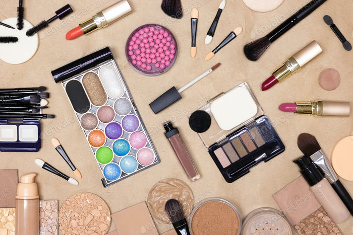 Makeup products and accessories on make-up table