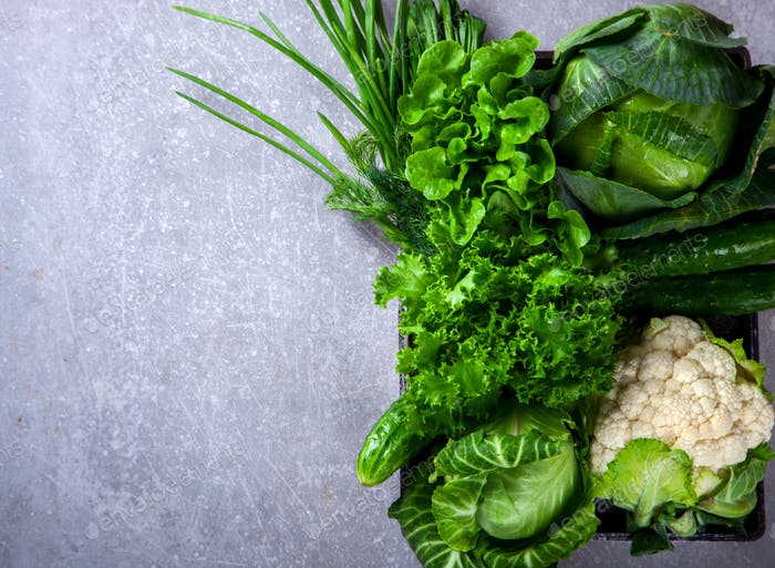 Vegetables Green on the gray background.Food or Healthy diet