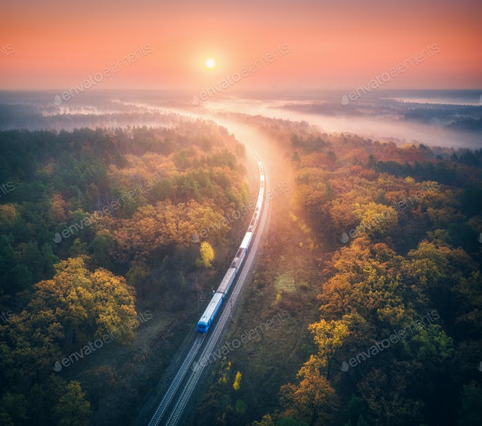 Train in colorful forest in fog at sunrise in autumn. Aerial view
