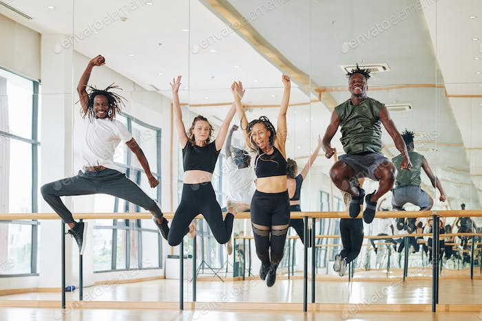 Dancers jumping from excitement
