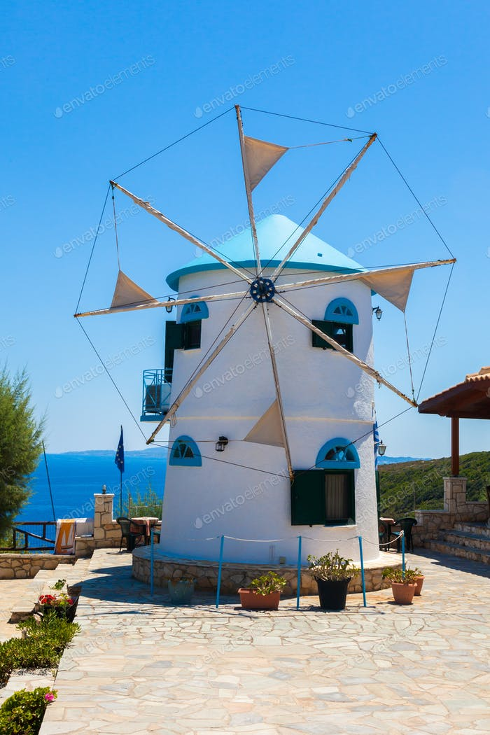 Old Windmill in Agios Nikolaos near blue caves in Zakynthos (Zan